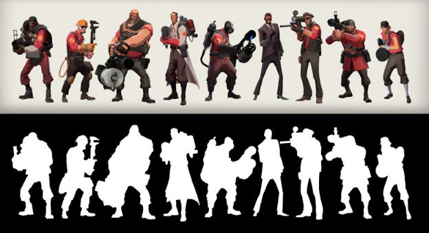 TF2 characters in silhouette