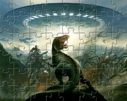 Play Dinosaurs vs Aliens Jigsaw